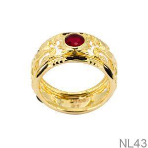 Nhẫn Nam Lông Voi Vàng Vàng 18K Đá Đỏ - NL43