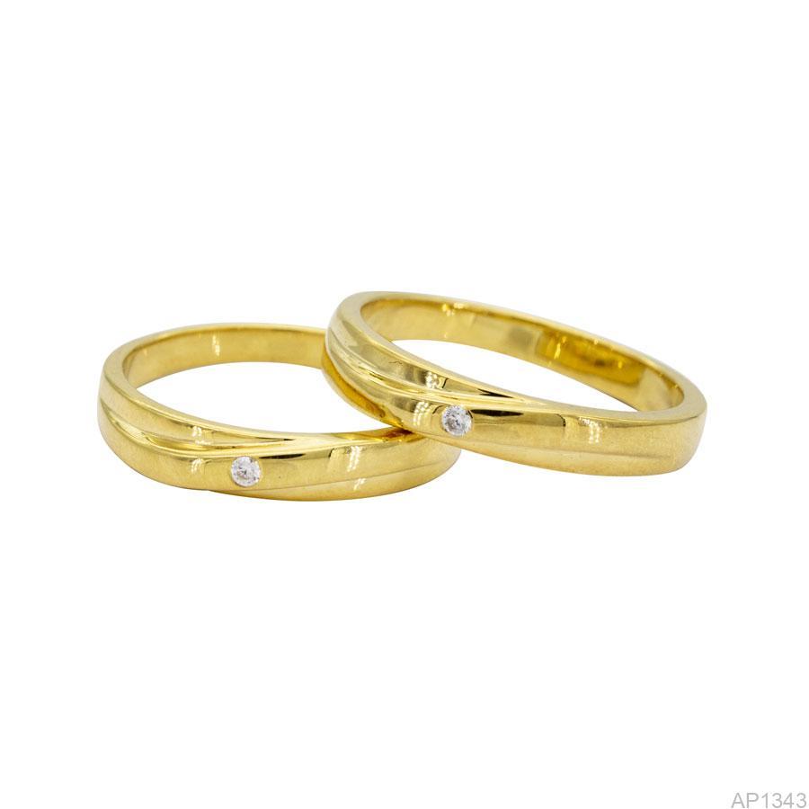 AP1343-2 Nhẫn cưới vàng vàng 18k APJ
