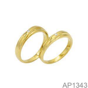 Nhẫn Cưới Vàng Vàng 18K Đính Đá CZ – AP1343