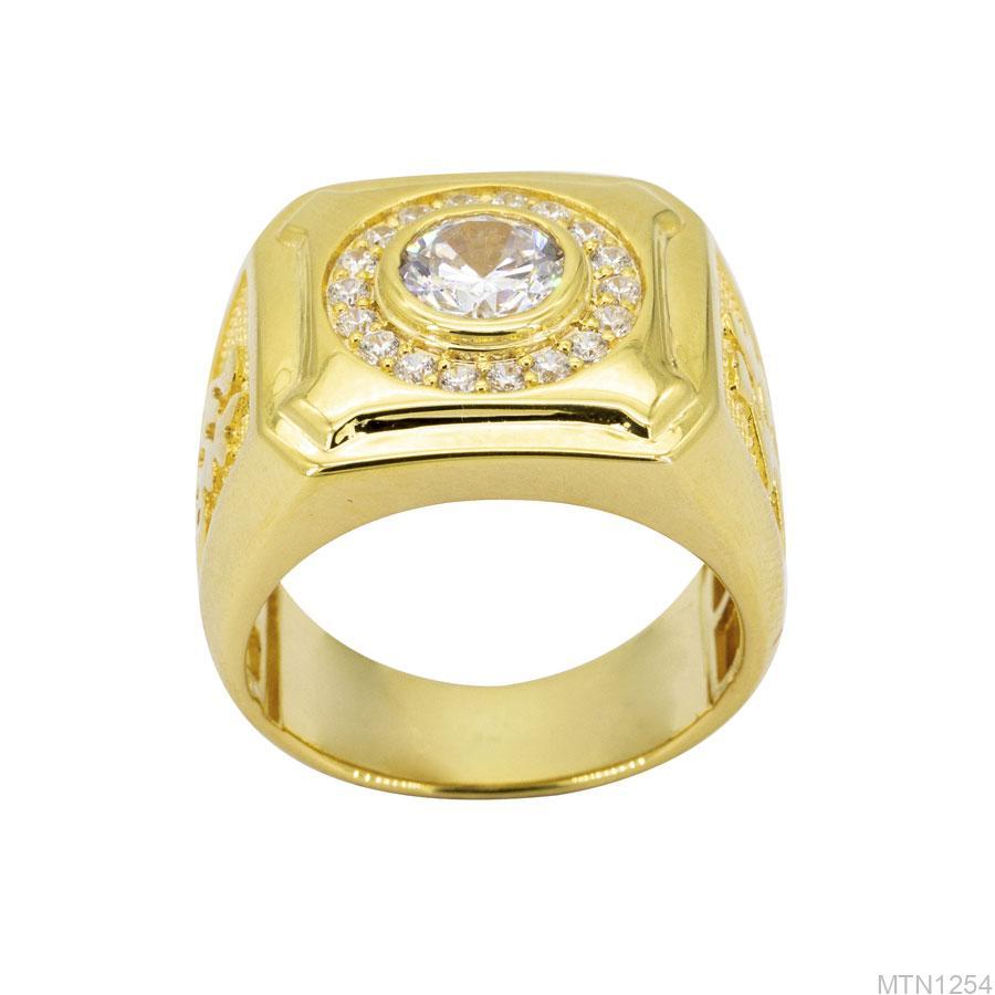 Nhẫn Nam Vàng Vàng 10K Đá Trắng - MTN1254