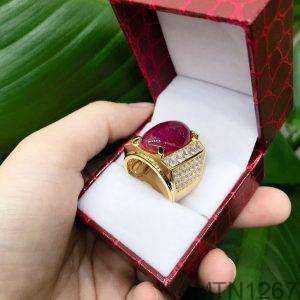 Nhẫn Nam Vàng Vàng 14k Đá Hồng – MTN1267