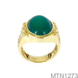 Nhẫn Nam Chữ Thọ Vàng Vàng 18K Đá Xanh Lục – MTN1273
