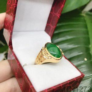 Nhẫn Nam Chữ Phúc Vàng Vàng 18K Đá Xanh Lục – MTN1273