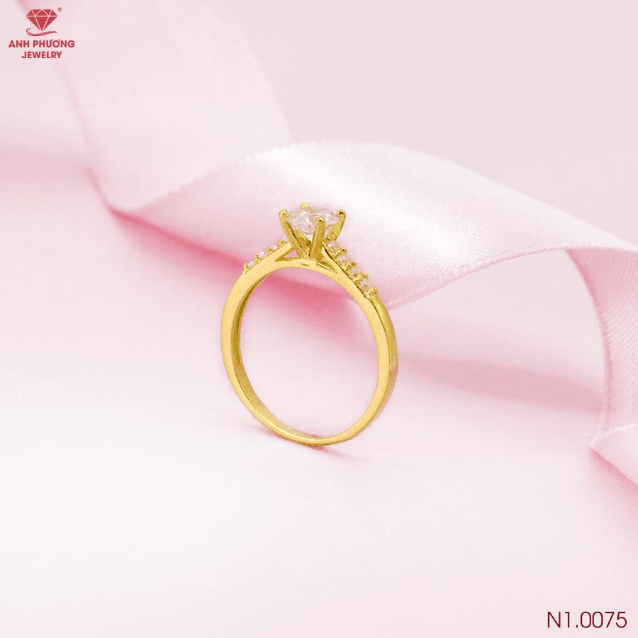 N1.0075 Nhẫn đính hôn vàng vàng 18k