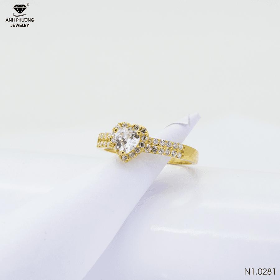 N1.0281 Nhẫn đính hôn vàng 18k kiểu Trái Tim