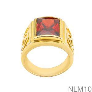 Nhẫn Nam Kim Tiền Vàng Vàng 18K Đá Đỏ - NLM10