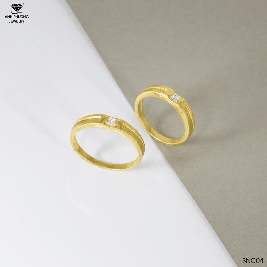 SNC04 Nhẫn cưới vàng 18k đá CZ APJ