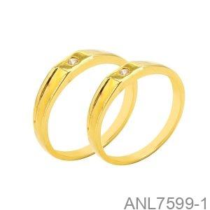Nhẫn Cưới Vàng Vàng 18k Đính Đá Cz - ANL7599-1
