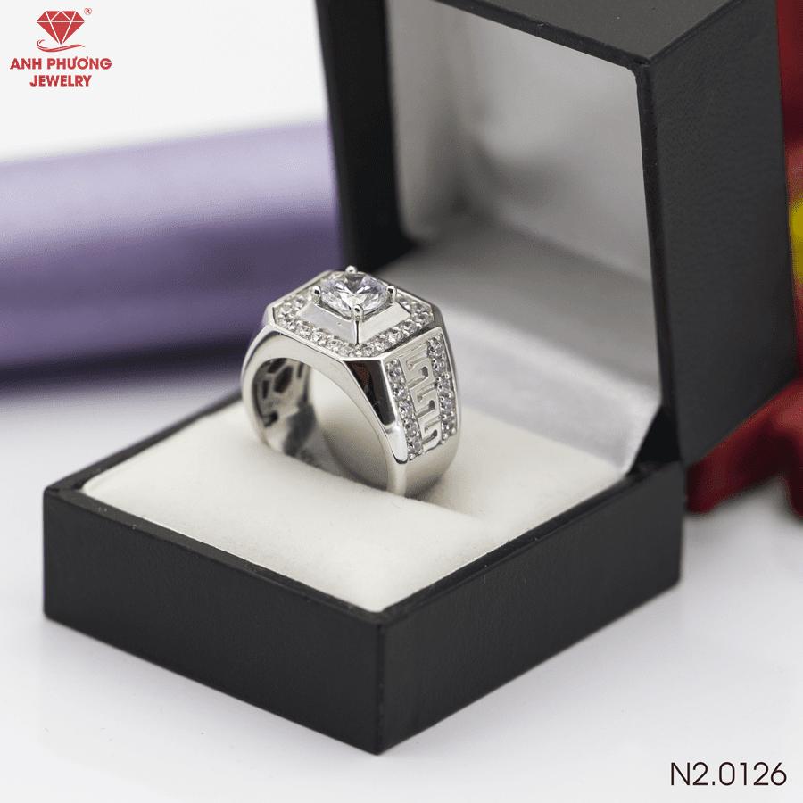 N2.0126 Nhẫn nam vàng trắng 18k đá cz