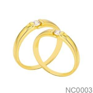 Nhẫn Cưới Vàng Vàng 18k Đính Đá Cz - NC0003