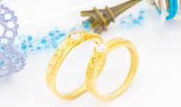 QNC66 Nhẫn cưới vàng đính đá cz