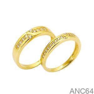 Nhẫn Cưới Vàng Vàng 18K Đính Đá CZ - ANC64