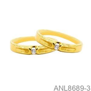 Nhẫn Cưới Vàng Vàng 18k Đính Đá Cz - ANL8689-3
