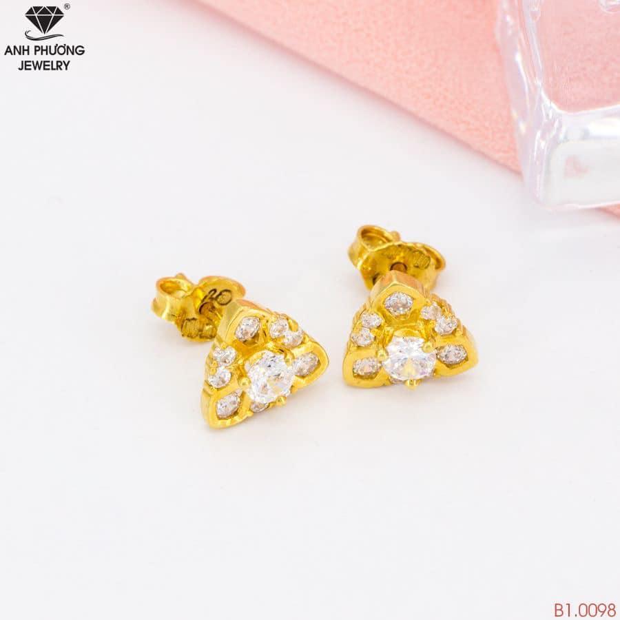 B1.0098 - Bông tai nữ vàng vàng 18k