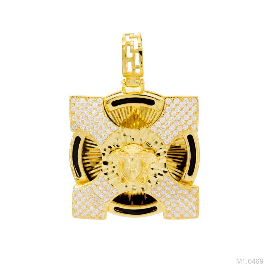 M1.0469 mặt dây chuyền nam lông voi vàng 10k mặt Versace