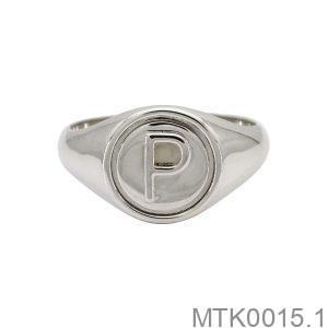 MTK0015.1-1 Nhẫn nam vàng trắng 18k khắc chữ P