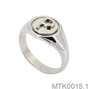 MTK0015.1-2 Nhẫn nam vàng trắng 18k khắc chữ P