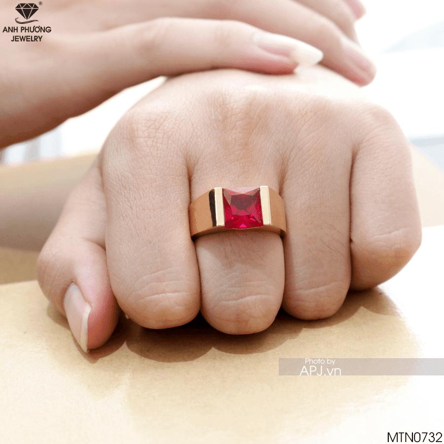 MTN0732 Nhẫn nam vàng 18k đá ruby hồng ngọc