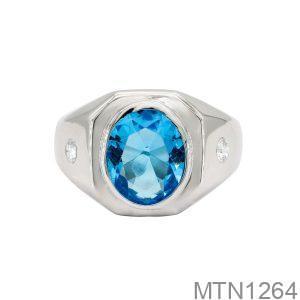 Nhẫn Nam Vàng Trắng 14k Đá Xanh Dương - MTN1264