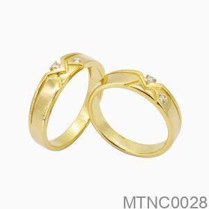 Nhẫn Cưới Vàng Vàng 18k Đính Đá Cz - MTNC0028