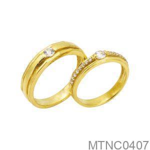 Nhẫn Cưới Vàng Vàng 18k Đính Đá Cz – MTNC0407