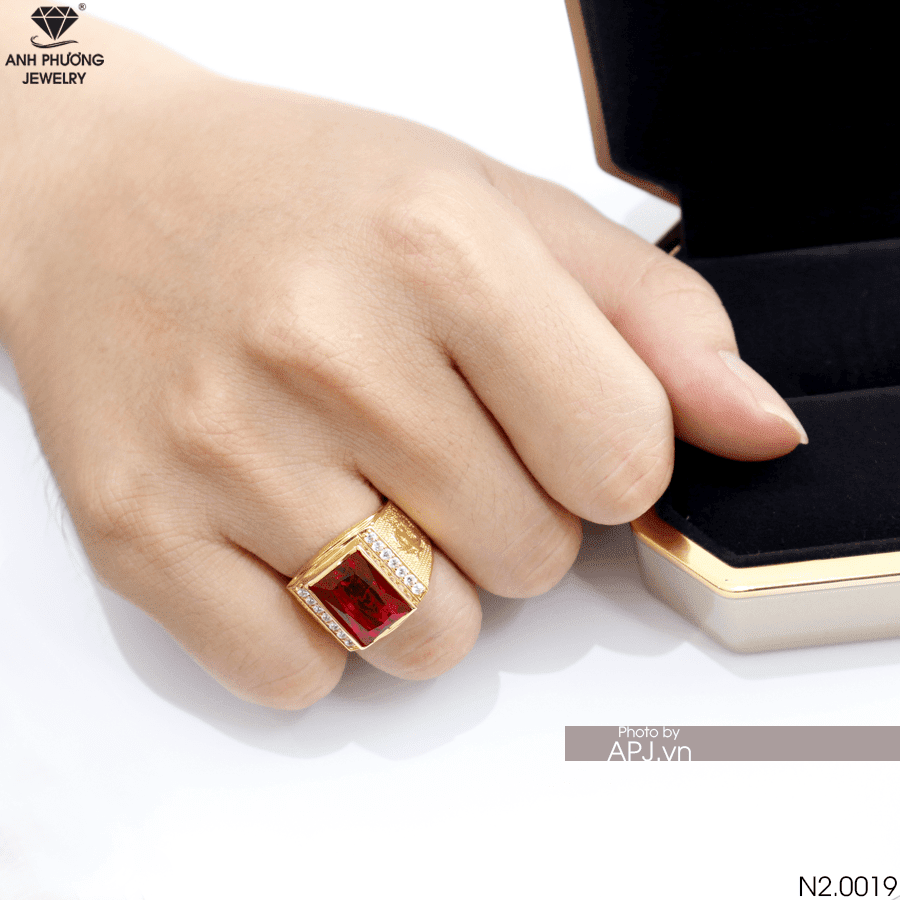 Nhẫn Nam Vàng Vàng 18K Đá Đỏ - N3250-3