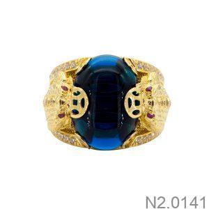 Nhẫn Nam Cóc Vàng Vàng 18k Đá Xanh Dương – N2.0141