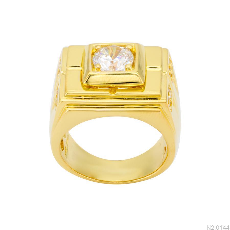 Nhẫn Nam Vàng Vàng 18k Đá Trắng – N2.0144