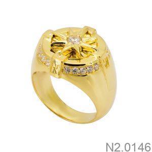 Nhẫn Nam Vàng Vàng 18k Đá Trắng – N2.0146