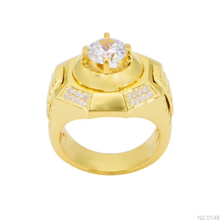 Nhẫn Nam Vàng Vàng 18k Đá Trắng – N2.0148