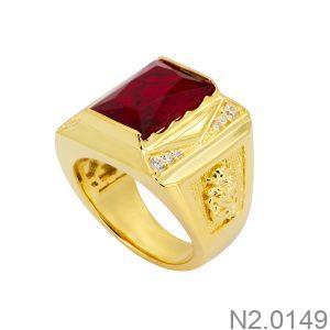 Nhẫn Nam Rồng Vàng Vàng 18k Đá Đỏ – N2.0149