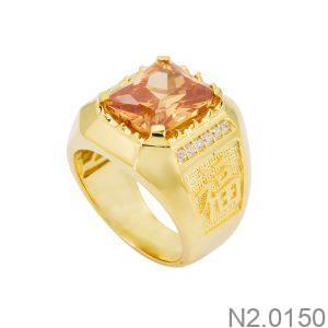 Nhẫn Nam Vàng Vàng 18k Đá Vàng – N2.0150