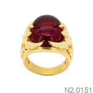 Nhẫn Nam Phượng Vàng Vàng 18k Đá Đỏ – N2.0151