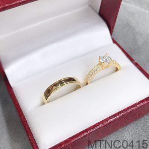 Nhẫn Cưới Vàng Vàng 18k Đính Đá Cz - MTNC0415
