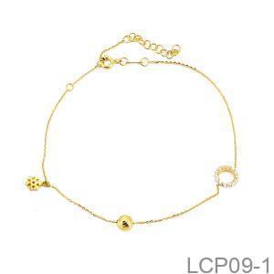 Lắc Chân Vàng Vàng 18K Đính Đá CZ - LCP09-1