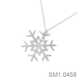 Mặt Dây Bạc Hoa Tuyết Đính Đá - SM1.0458