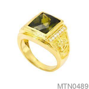 Nhẫn Nam Rồng Vàng Vàng 18K Đá Xanh Lục - MTN0489