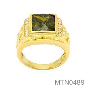 Nhẫn Nam Vàng Vàng 18K Đính Đá Cz - MTN0489