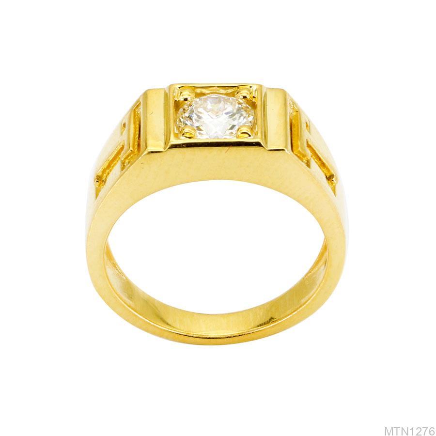 Nhẫn Nam Chữ T Vàng Vàng 10K Đá Trắng - MTN1276