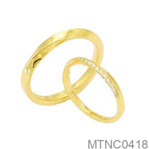 Nhẫn Cưới Vàng Vàng 18K Đính Đá CZ - MTNC0418
