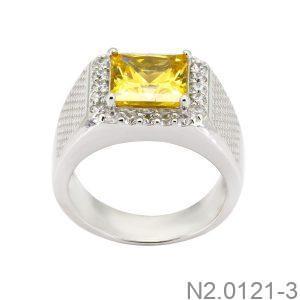 Nhẫn Nam Vàng Trắng 10K Đính Đá Cz - N2.0121-3