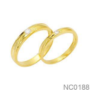Nhẫn Cưới Vàng Vàng 18K Đính Đá Cz - NC0188