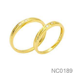 Nhẫn Cưới Vàng Vàng 18K Đính Đá Cz - NC0189