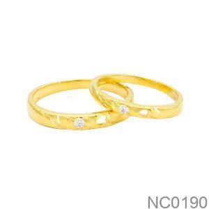 Nhẫn Cưới Vàng Vàng 18K Đính Đá Cz - NC0190