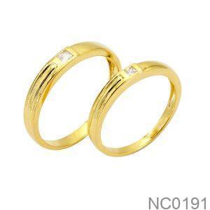 Nhẫn Cưới Vàng Vàng 18K Đính Đá Cz - NC0191