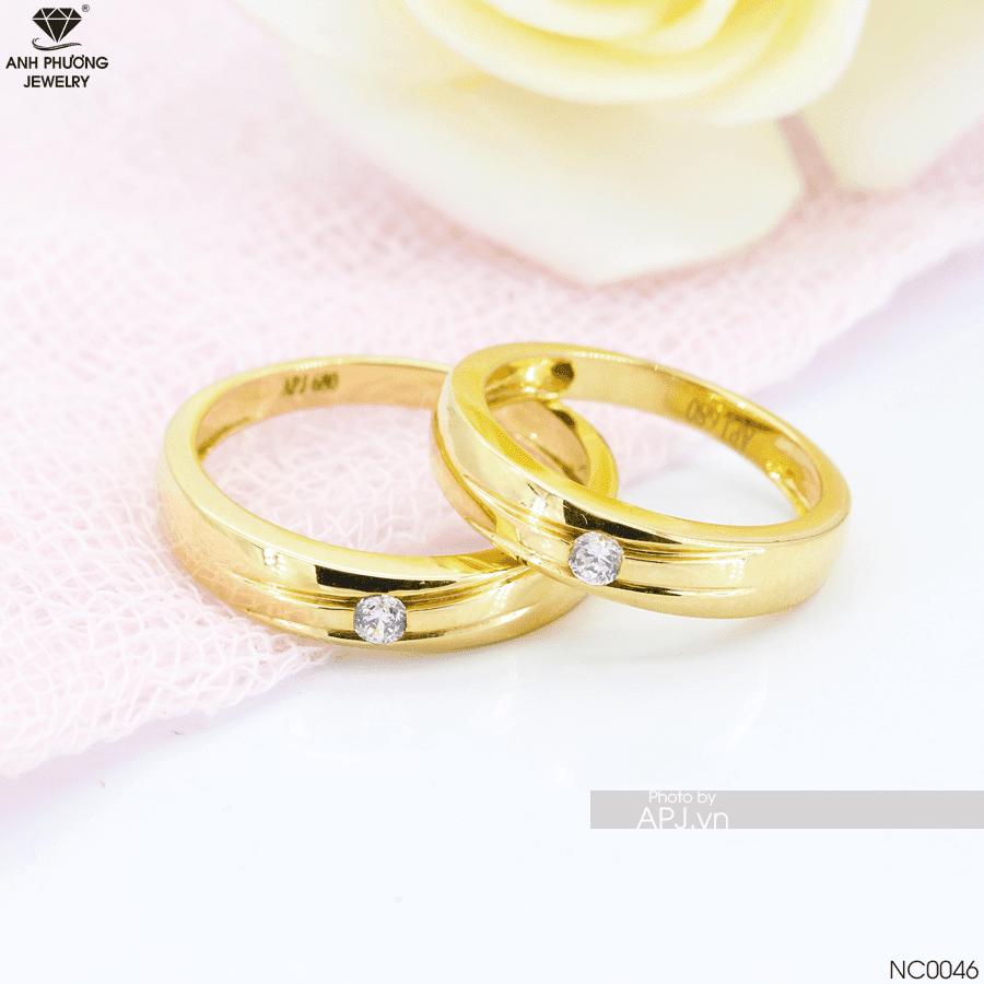 Nhẫn cưới đơn giản đẹp vàng 18k