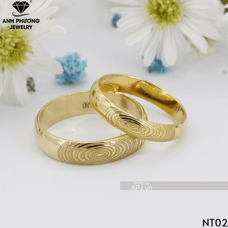 NT02 Nhẫn cưới đẹp khắc dấu vân tay vàng 18k