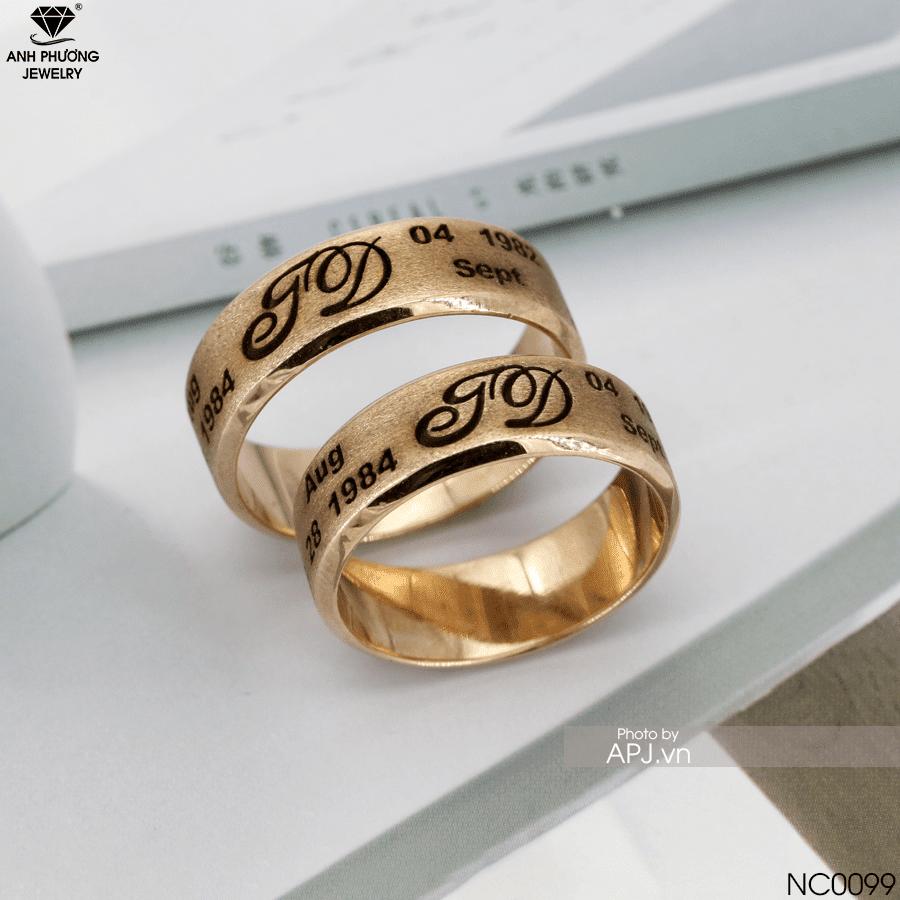 NC0099 Nhẫn cưới đẹp đơn giản khắc tên