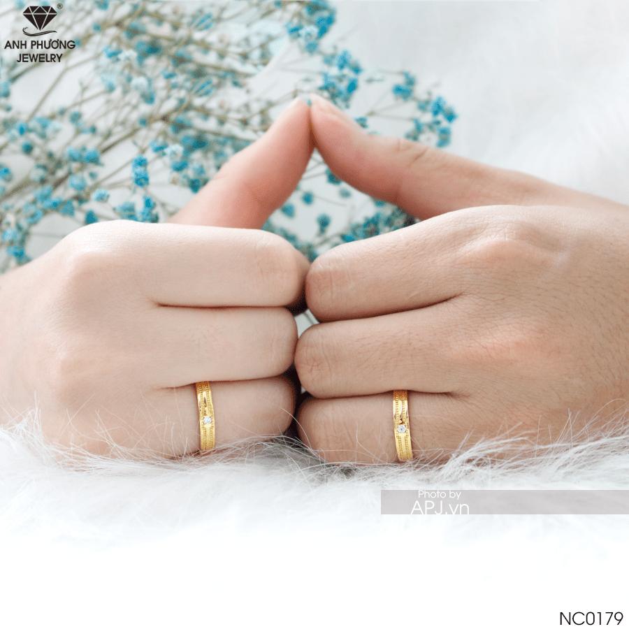 NC0179 nhẫn cưới vàng vàng đẹp 19k