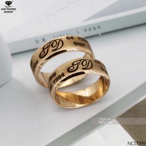 NC0099 - Nhẫn cưới vàng hồng khắc chữ đẹp nên chọn